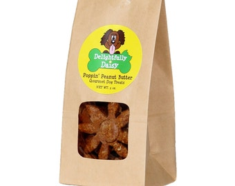 Pack of 6 Delightfully Daisy Poppin' Peanut Butter Gourmet Dog Treats 5 oz. bags