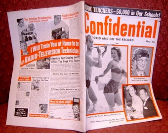 Book Confidential Magazine Hollywood Gossip Periodical May 1954