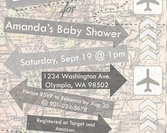 Personalized Airplane - Travel Theme Baby Shower Invite - *Digital Documents*