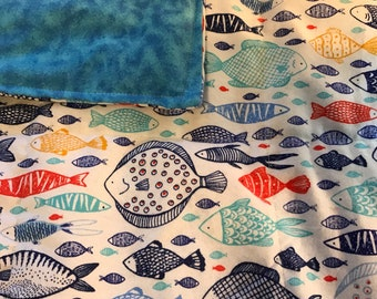 Weighted Blanket, child, toddler weighted blanket, 4 lbs, ready to ship, washable, fish
