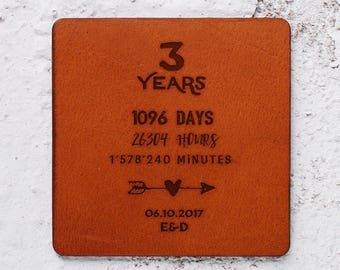 Third year anniversary gift, Leather gift for anniversary, 3 year anniversary gift idea, Leather anniversary, Leather coasters square Custom