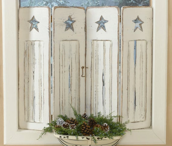 Rustic Beadboard Shutters With Primitive Star Cutout In