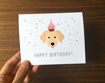 Dog Birthday Card, Cute Birthday Card, Golden Retriever Card, Happy Birthday Card, Puppy Birthday Card, Baby Birthday Card, Labrador Card