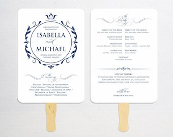 Navy Blue Wedding Program Fan Template, Calligraphy Script Printable Program, Instant Download, Ceremony Program Fan, Kraft Paper, WPC_1158