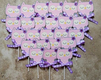 Owl cupcake toppers- 24 pack pink and purple with ribbon