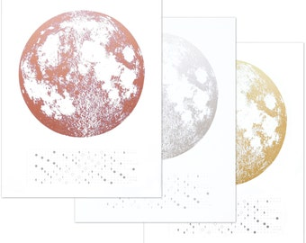 Wall calendar 2018, Moon Calendar 2018, lunar calendar, homedecor, Moon Phase calendar, Full Moon Art, lunar phases art, silver gold copper
