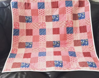 WINTER SALE Linen Wholecloth Baby Quilt / Lapquilt / Quilted Throw / Baby Blanket