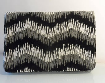 Black,Cream & Grey Wave Design Clutch Bag -textile/evening/present