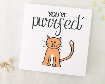 Funny Valentine card, Cat valentine's card, Funny card, cute card, Pun card, Purrfect, Kitty, Kitten, Boyfriend, Girlfriend, Partner