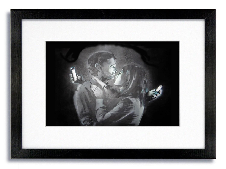 Banksy Handy-Liebhaber montiert & gerahmten Druck