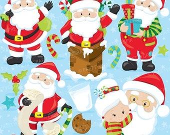 80% OFF SALE Santa clipart commercial use, Christmas clipart, Santa Claus Clipart, graphics, digital clip art, digital images  - CL753