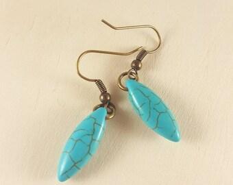Dangle earrings, Drop earrings, Turquoise Howlite earrings, Everyday earrings, Minimalist earrings, Crystal earrings, Boho earrings, Gift