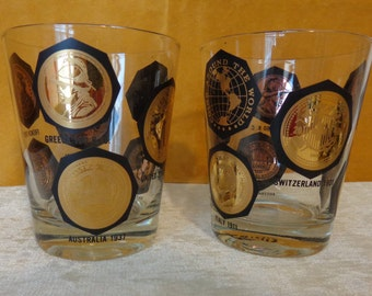 Vintage Gold Coin Highball Glasses, International 22kt gold coin glasses