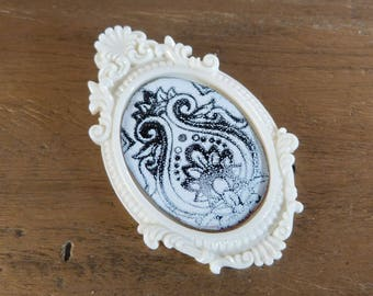 black and white copper brooch enamelled baroque brooch