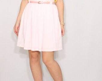 pleated skirt Pale pink mini skirt with pockets Chiffon skirt High waisted skirt