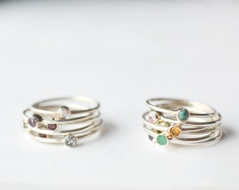 Birthstone Ring - Sterling Silver Birthstone Stacking Ring - Stackable Mothers Ring - Birthstone Ring for Mom Stack Ring Size 5 6 7 8 9 10