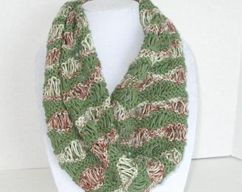 Cotton Lace Knit Scarf / Green and Brown Wavy Circle Scarf / Cotton Knit Cowl