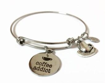 Coffee Addict Expandable Bracelet Coffee Lovers Charm Bangle Coffee Bangle Bracelet Coffee Lovers Adjustable Stacking Wire Bangle Bracelet