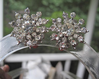 Juliana Style Rhinestone Clip on Earrings Estate,  Bridal Earrings , Prom Jewelry,  Vintage   Wedding Earrings, Rhinestone Earrings,