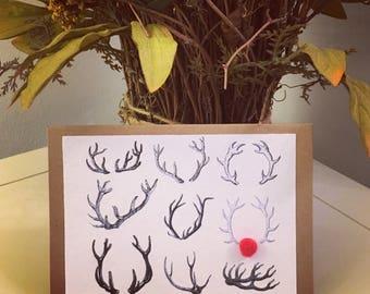 Reindeer Christmas Card with pompom