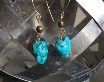 "Dangle ""Turquoise"" wire earrings"