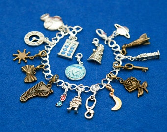 Doctor Who 17 charms bracelet custom charms space timelord tardis police box dalek miniature