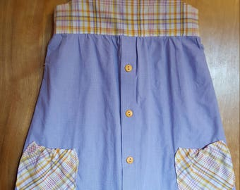 Girls Sundress/ Lilac with Yellow Plaid Top/ Repurposed/ Up-cycled/ Men's shirt/ Size 4 girls