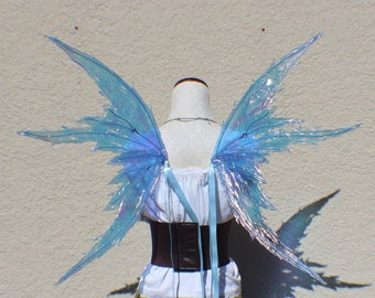 Custom medium size Blue Iridescent 4 Wing Tattered Faerie Wings