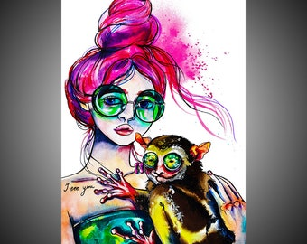 Fay watercolor painting, Tarsier painting, Tarsier art, Tarsier wall art, Woman art, Woman painting, Woman gift, Bizarre, Weird