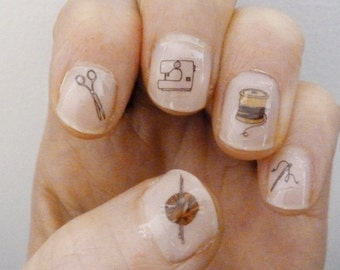 craft nail transfers - illustrated nail art stickers - knitting nail art - sewing / stitching decals