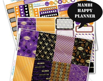Gold Halloween Sticker Fall Planner Kit 200+ Happy Planner Sticker, Mambi Planner Sticker kit, Weekly Planner Kit, Fall Sticker #SQ00338-MHP