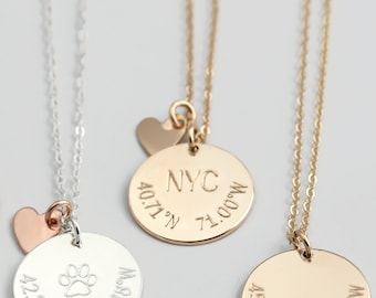 Latitude longitude necklace etsy aloadofball Gallery