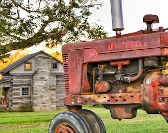 Photography, Landscape, Primitive, Antique Tractor Print, Title: Country Retirement