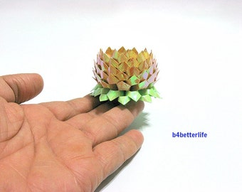 A piece of Small Size Goldenrod Color Hand-folded Origami Lotus. (AV paper series). #FLT-164.
