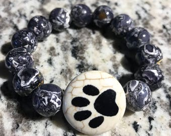 Paw Print Black Beaded Barcelet