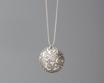 Sterling Silver Pendant with Flowers and Sterling Silver Chain