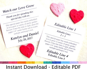 Editable PDF template - Instant Download Wedding Favor PDF Card Template - For plantable flower seed paper or herb seed paper
