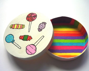 Candy Wooden Jewelry Box | Hand painted colorful sweets and lollipops | Candylover | Candy Box | Small Packaging Box | Jewelry Organizer