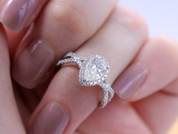 Pear Shaped Engagement Ring Moissanite Pear Engagement Ring