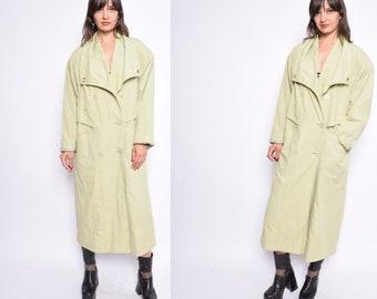 Vintage 80's Lime Green Trench Coat / Light Green Oversized  Raincoat  - Size Medium