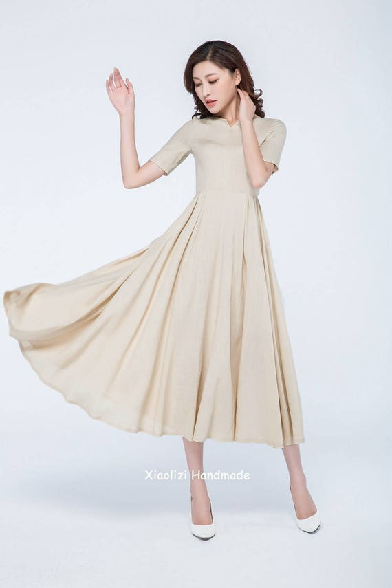 Elegant Long Cream Dresses