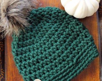 Emerald Slightly Slouchy Winter Hat with Faux Fur Pom-pom