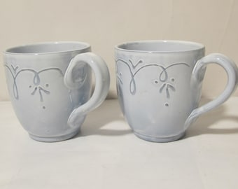 Two Vintage Large Hand Painted Cups, Made In Italy.