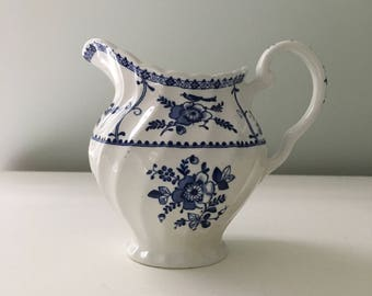 Vintage Blue Transferware English Ironstone Creamer Vase Home Decor Blue and White Floral China Meakin