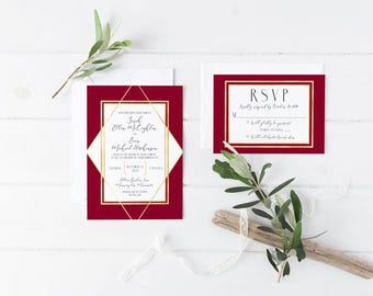 Classic and Sophisticated - Custom Wedding Invitation and RSVP