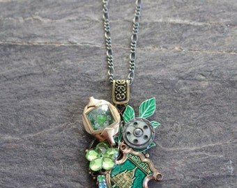 French Sacre Coeur rich green Collage necklace Bridesmaid Jewelry vintage  button wedding bridal pendant altered, antique steampunk green