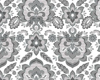 Fantine by Riley Blake - Damask White - Cotton Woven Fabric