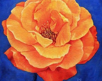 Orange Rose 8x8 Acrylic Painting
