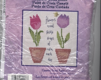 Flowers Need Rain Counted Cross-Stitch Kit - PARTIAL KIT