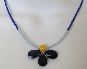 Half Flower Necklace- Cobalt Blue - Adjustable 16 1/2 inch long SKU